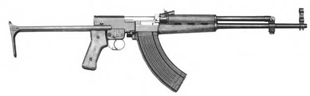 7,62-мм автоматический карабин Симонова СКС-АКС-74-П-52 с откинутым прикладом. Опытный образец 1952г.