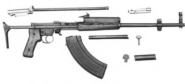 Неполная разборка 7.62-мм автоматического карабина Симонова СКС-АКС-74-П-52.
