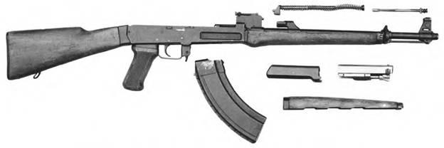 Неполная разборка 7.62-мм автоматического карабина (автомата) Калашникова. Опытный образец №1 1952г.