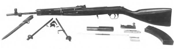 Неполная разборка 7.62-мм автоматического карабина конструкции Г.С. Гаранина.