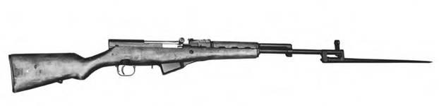 7,62-мм самозарядный карабин Симонова СКС с откинутым игольчатым штыком. образец 1944г.