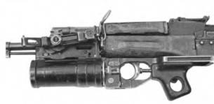 Подствольный гранатомет, установленный на АК74.
