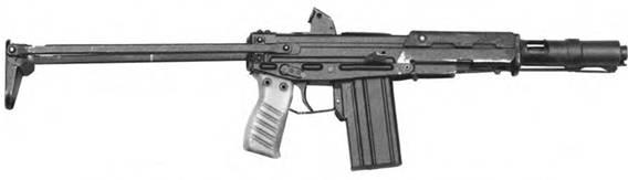 5,45-мм малогабаритный автомат Стечкина ТКБ-0116 с откинутым прикладом. Опытный образец.