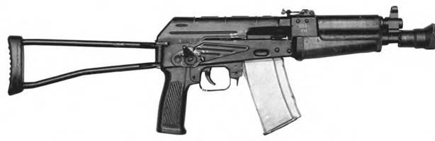 5,45-мм малогабаритный автомат Константинова АКК-958 с откинутым прикладом. Опытный образец.