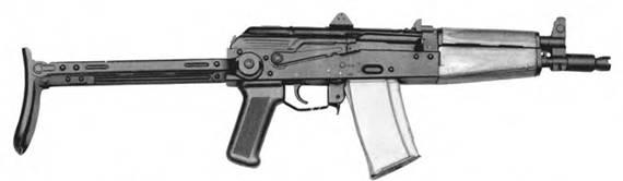 5,45-мм малогабаритный автомат Калашникова ПП1 с откинутым прикладом Опытный образец 1973г.