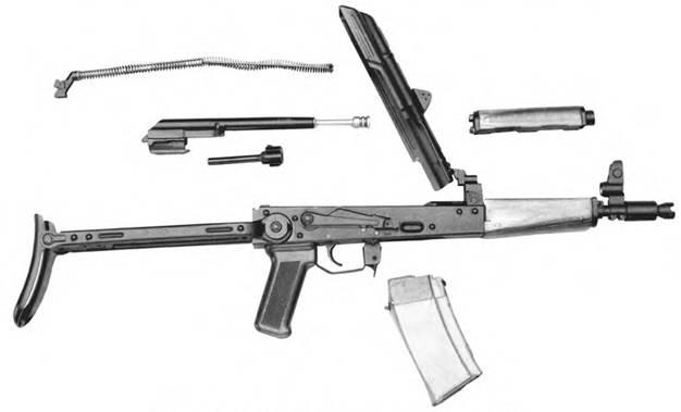 Неполная разборка 5,45-мм малогабаритного автомата Калашникова ПП1.