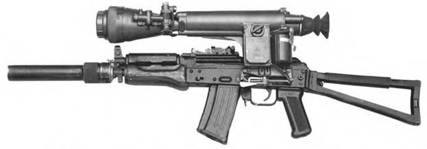 5,45-мм автомат Калашникова АКС-71УБ с прибором для бесшумно-беспламенной стрельбы ПБС-3 и прицелом НСПУ.