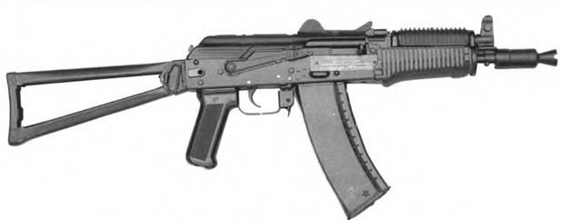 5,45-мм автомат Калашникова АКС74У с пластмассовым цевьем, с откинутым прикладом.