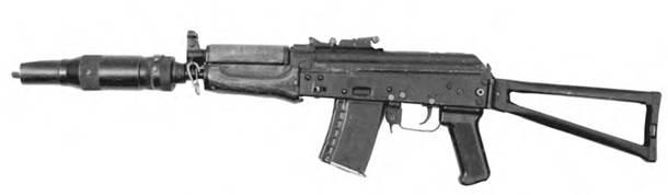 5,45-мм автомат Калашникова АКС-74УВ с откинутым прикладом.
