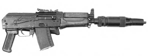 5.45-мм автомат Калашникова АКС-74УБ CD(4) с усовершенствованным прибором для бесшумно-беспламенной стрельбы ПБС-4 со сложенным прикладом.