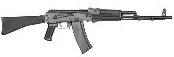 5,45-мм автомат Калашникова АК-74 с от кинутым прикладом. Опытный образец А-61.