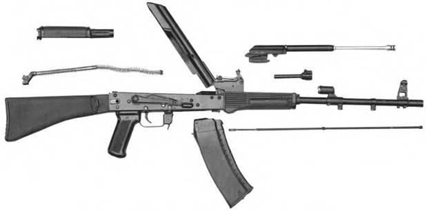 Неполная разборка 5.45-мм автомата Калашникова АК-74. Опытный образец А-61.