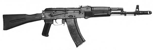 5,45-мм автомат Калашникова АК-74М с откинутым прикладом.
