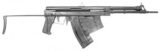5,66-мм автомат АПС с откинутым прикладом.