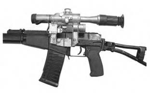 Оптический прицел ПСО-1-1, смонтированный на 9-мм автомате АС.