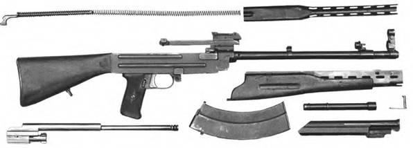 Неполная разборка 7,62-мм автомат Булкина АБ-46.