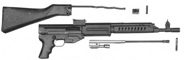 Неполная разборка 7,62-мм автомата Дементьева АД-46 КБ-11-410.