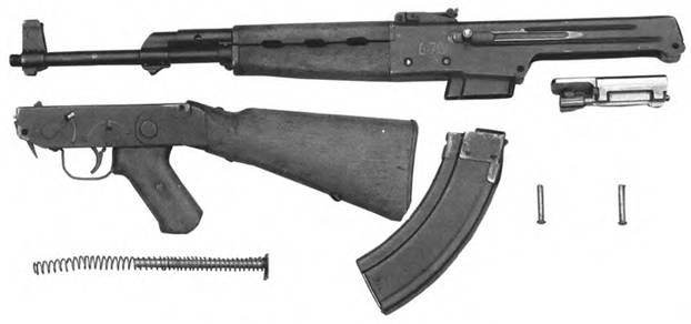 Неполная разборка 7,62-мм автомата Калашникова АК-1 (АК-46 №2).