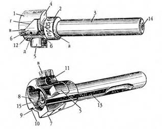 Остов затвора 7,62-мм автомата АК: а — задний плоский торец ведущего выступа, б — винтовой скос ведущего выступа, в — передний торец ведущего выступа: г)— винтовой скос ведущего выступа; д)— левая грань; I — боевая личинка затвора; 2 — средняя цилиндрическая часть затвора; 3 — хвостовая цилиндрическая часть затвора; 4 — правый боевой выступ; 5 — левый боевой выступ; 6 — ведущий выступ затвора; 7 — досылатель; 8 — гнездо дня выбрасывателя с пружиной; 9 — чашечка; 10 — нижняя грань правого боевого выступа; 11 — отверстие для оси выбрасывателя; 12 — отверстие для шпильки ударника; 13- продольный паз для отражателя; 14 — канал для ударника; 15 — отверстие для прохода бойка.