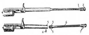 Затворная рама 7,62-мм автомата АК в собранном и разобранном виде: 1 — шток; 2 — поршень; 3 — резьба для соединения с затворной рамой; 4 — штифт для соединения штока с рамой; 5 — отверстие для штифта; 6 — продольные выемы; 7 — кольцевые выточки.