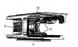 Вкладыш штампованной ствольной коробки 7,62-мм автомата АК (выпуска 1949–1951гг.): а — вил справа; б — вид сверху; в — вил снизу; 1 — резьба для ввинчивания ствола; 2 и 3 — боевые уступы: 4 — сухарь; 5 и 6 — направляющие планки; 7 — отражатель; 8 — паз для основания прицела; 9 — вырез для крепления цевья: 10 — вырез: 11 — уступы.