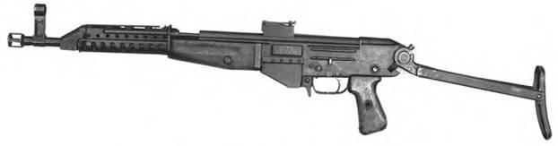7,62-мм автомат Дементьева АДС-47 с откинутым прикладом. Опытный образец 1947г.