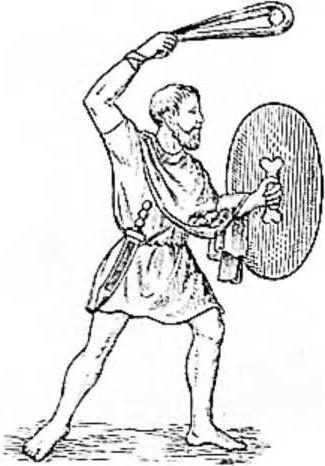 Древний воин бросает камень пращой