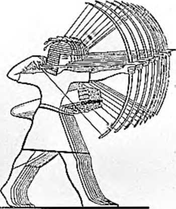 Отряд древнеегипетских лучников. Рисунок на стене египетского дворца.