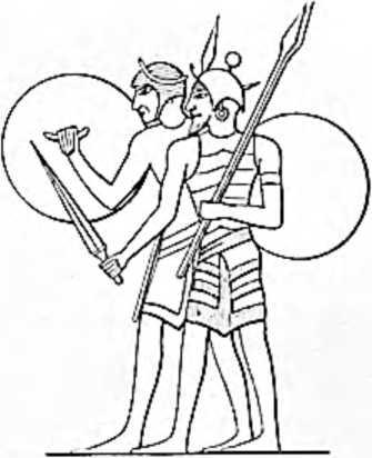 Древнеегипетские воины с щитами. Один из воинов держит в одной руке меч, а в другой — два дротика. Рисунок на стене египетского дворца.