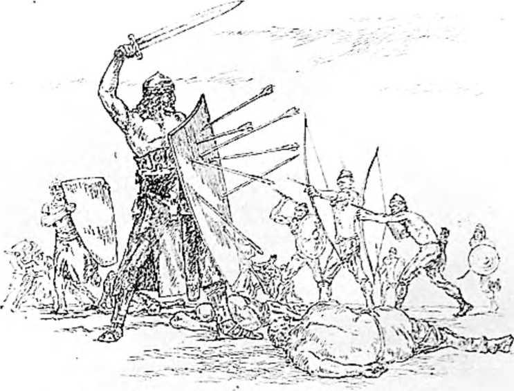 Король готов Тейя бьется с византийцами. (Рисунок Н. Н. Вышеславцева).