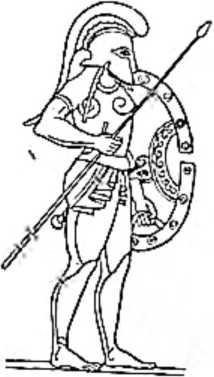 Гоплит — греческий воин, тяжело вооруженный. На нем шлем с забралом, гиалоторакс, поножи. В левой руке — овальный щит, в правой— копье.