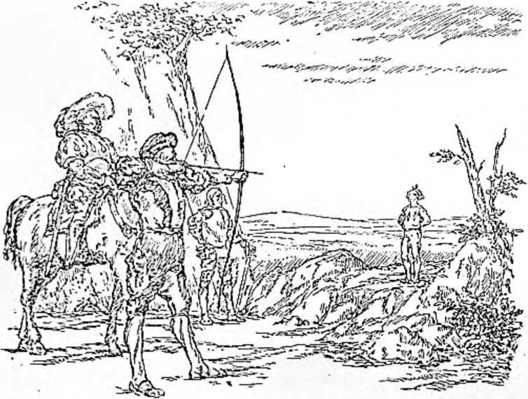 Швейцарский лучник Вильгельм Телль стреляет в яблоко, лежащее на голове сына. На коне — Гесслер. (Рисунок Н. Н. Вышеславцева).