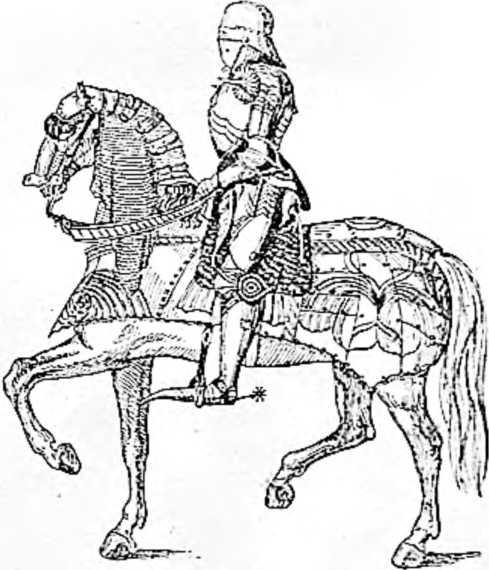 Средневековый всадник и конь, закованные в железо