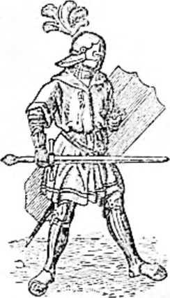 Средневековый воин. Поверх лат надета рубаха для защити от палящих лучей солнца. На голове шлем с султаном из перьев.