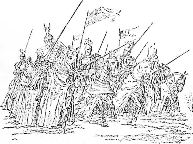 Французские рыцари перед битвой с англичанами при Азенкуре. (Рисунок Н. Н. Вышеславцева).