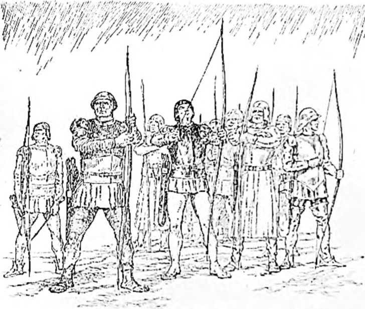 Английские стрелки перед битвой с французами при Азенкуре. (Рисунок Н. Н. Вышеславцева).