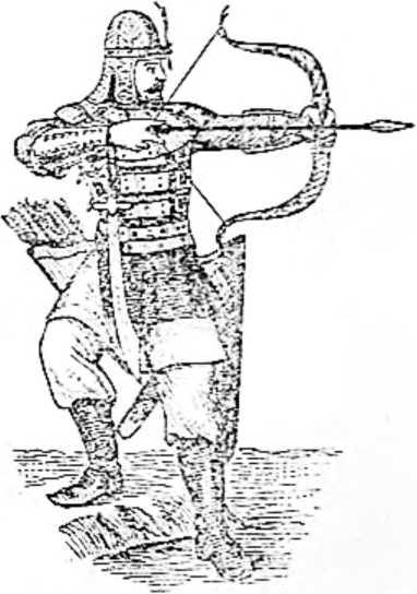Русский воин в кольчужной рубахе с железными пластинками и с наручами