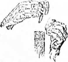 Высекание искры. В правой руке — кресало, в левой — кремень, внизу — трут