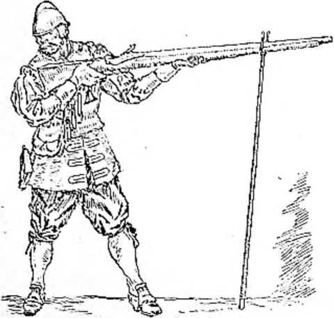Нацелившись в противника, стрелок часто отворачивал голову в сторону, боясь сильной отдачи. (Рисунок Н. Н. Вышеславцева).