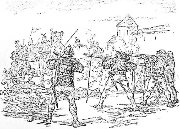 Битва при Павии. Увидев скачущих рыцарей, стрелки воткнули в землю свои упоры, положили на вилки стволы аркебуз и открыли пальбу. (Рисунок Н. Н. Вышеславцева).