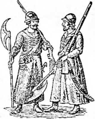 Русские стрельцы. На плече пищаль, на боку сабля, в руке боевой топор (XVI век).