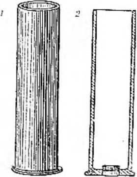1 — Гильза из меди. Вид снаружи. 2 — Разрез. В донышке помещен капсюль