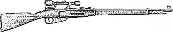 Снайперская винтовка. Над затвором на ней установлена зрительная труба. Через трубу цель видна гораздо лучше, чем простым глазом