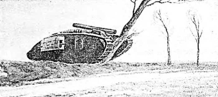 Танк «М-IV» валит дерево толщиной в полметра