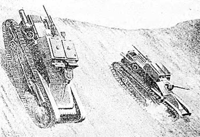 Сверхлегкие итальянские танки «Фиат-Ансальдо» спускаются по крутому склону а Абиссинии