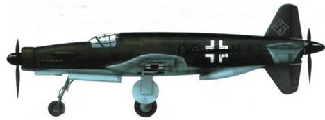 Прототип Do 335V1. Фюзеляж сверху и с боков, крылья сверху покрашены краской RLM 71. Днище фюзеляжа и нижняя сторона крыльев – краской RLM 65. Кресг шириной 1000 мм, Крест на нижней стороне крыльев шириной 1525 мм.