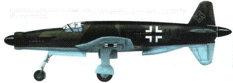 Do 335V3 на первом этапе испытаний. Фюзеляж и крылья сверху в камуфляже RLM 70/ 71, снизу RLM 65.
