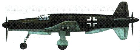 Do 335V4 во время испытаний удлиненных оконновок крыльев. Фюзеляж и крылья сверху RLM 81/82, снизу RLM 65 (реконструкция). Обратите внимание, оконновки крыльев снизу, вероятно, RLM 02.