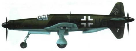 Do 335V7 с двигателем Jumo 213 спереди. Камуфляж RLM 71/71/65. Самолет несет увеличенные кресты (ширина 1250 мм) и бортовой код.