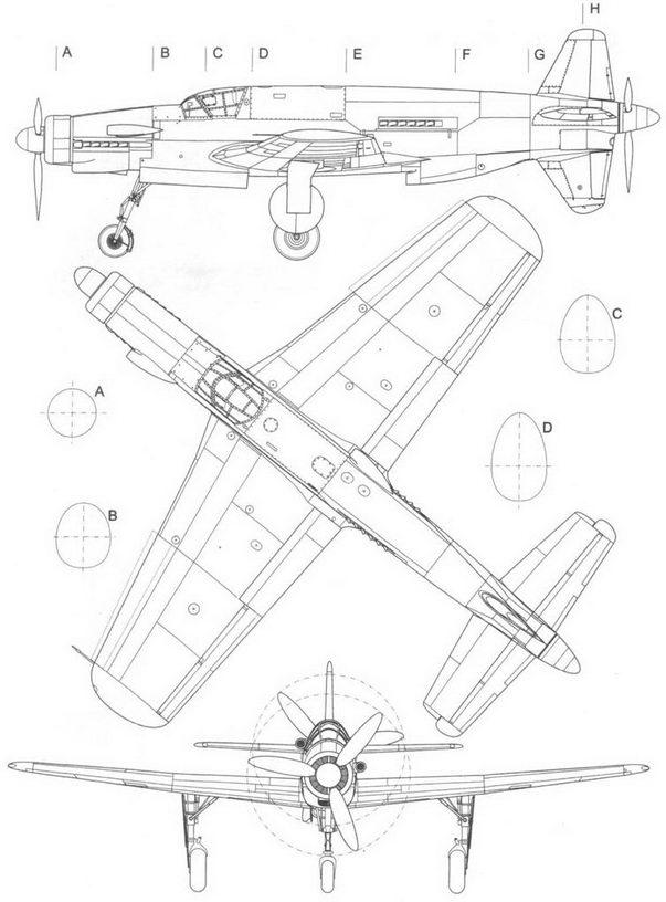 Прототип Do 335V1 в трех проекциях: слева, сверху и спереди.
